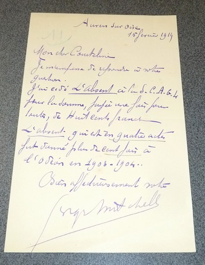 Lettre autographe signée de Georges Mitchell le 15 février 1914 à l'attention de Courteline - Mitchell, Georges