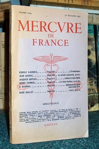 Mercure de France numéro 1095 du 1er novembre 1954 - Mercure de France