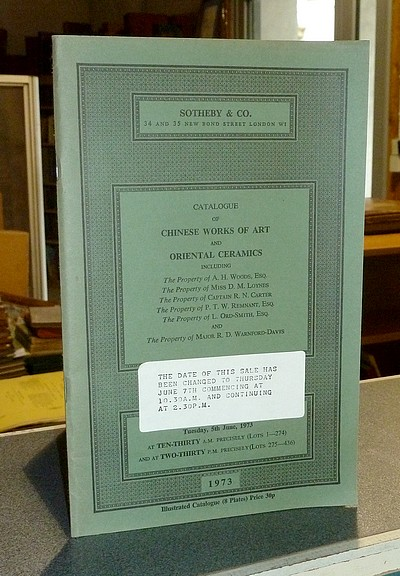 Catalogue of Chinese Works of Art and Oriental Ceramics. Sotheby & Co, London, 5th June 1973, changed to June 7th -